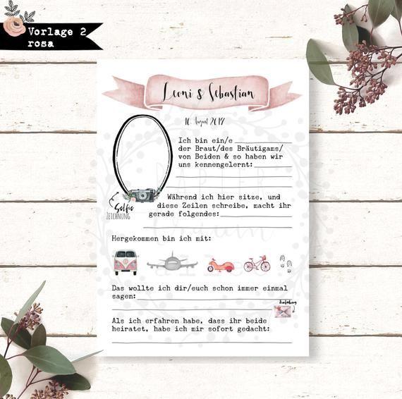 Gästebuch Karten Hochzeit Spiel Fragen Geschenk Andenken persönlich Hochzeitspaar Brautpaar Vorlage Vordruck ausfüllen Digitale Datei