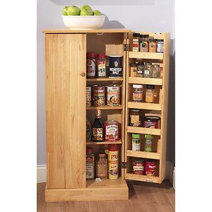 Pine Utility Storage Pantry Cabinet Kitchen Food E Canned Goods