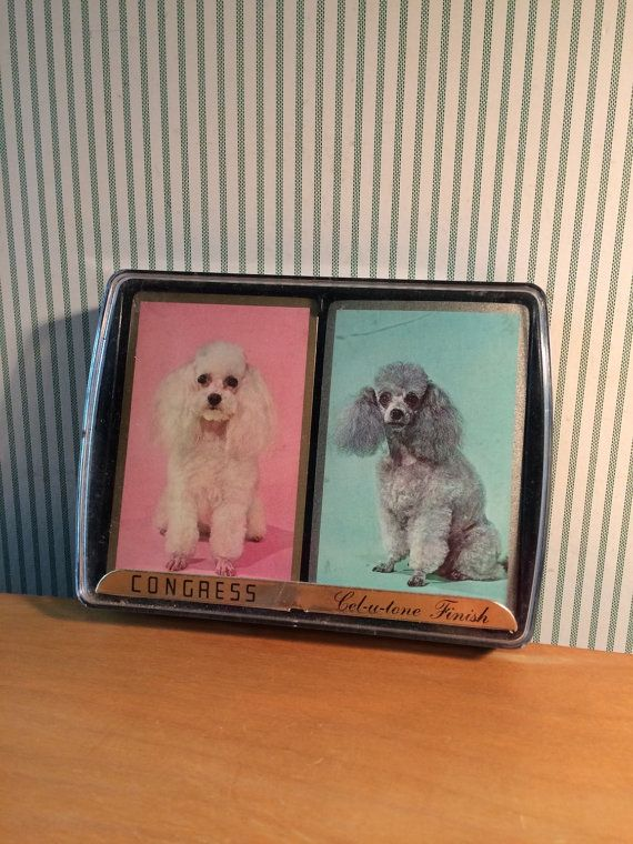Vintage Set of Mid Century Retro Playing Cards with Poodles