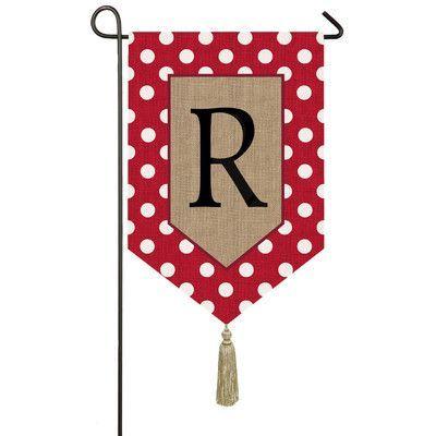 Evergreen Enterprises, Inc Polka-Dot Welcome Monogram 2-Sided Garden Flag Letter: