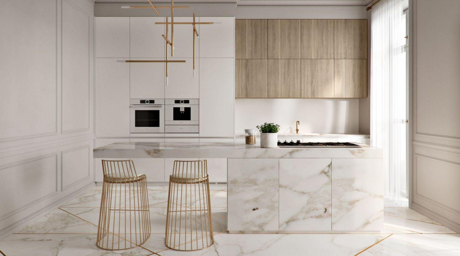 Beautiful Kitchen Design Ideas Gold Mramor Floor White Kitchen Beautifulkitchendes Elegant Kitchens Kitchen Interior Design Modern Modern Kitchen Design