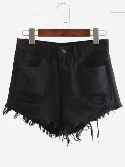 Photo of Black Ripped Fringe Denim Shorts