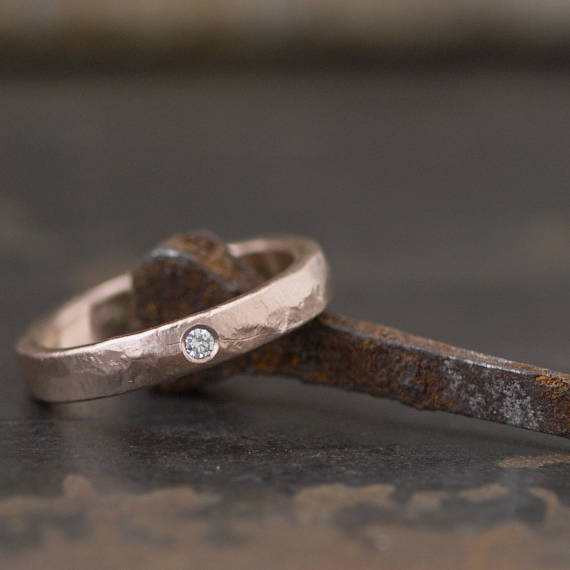 cb5d35d21bc rose gold diamond ring band with matte brushed finish and organic hammered  texture, available in you