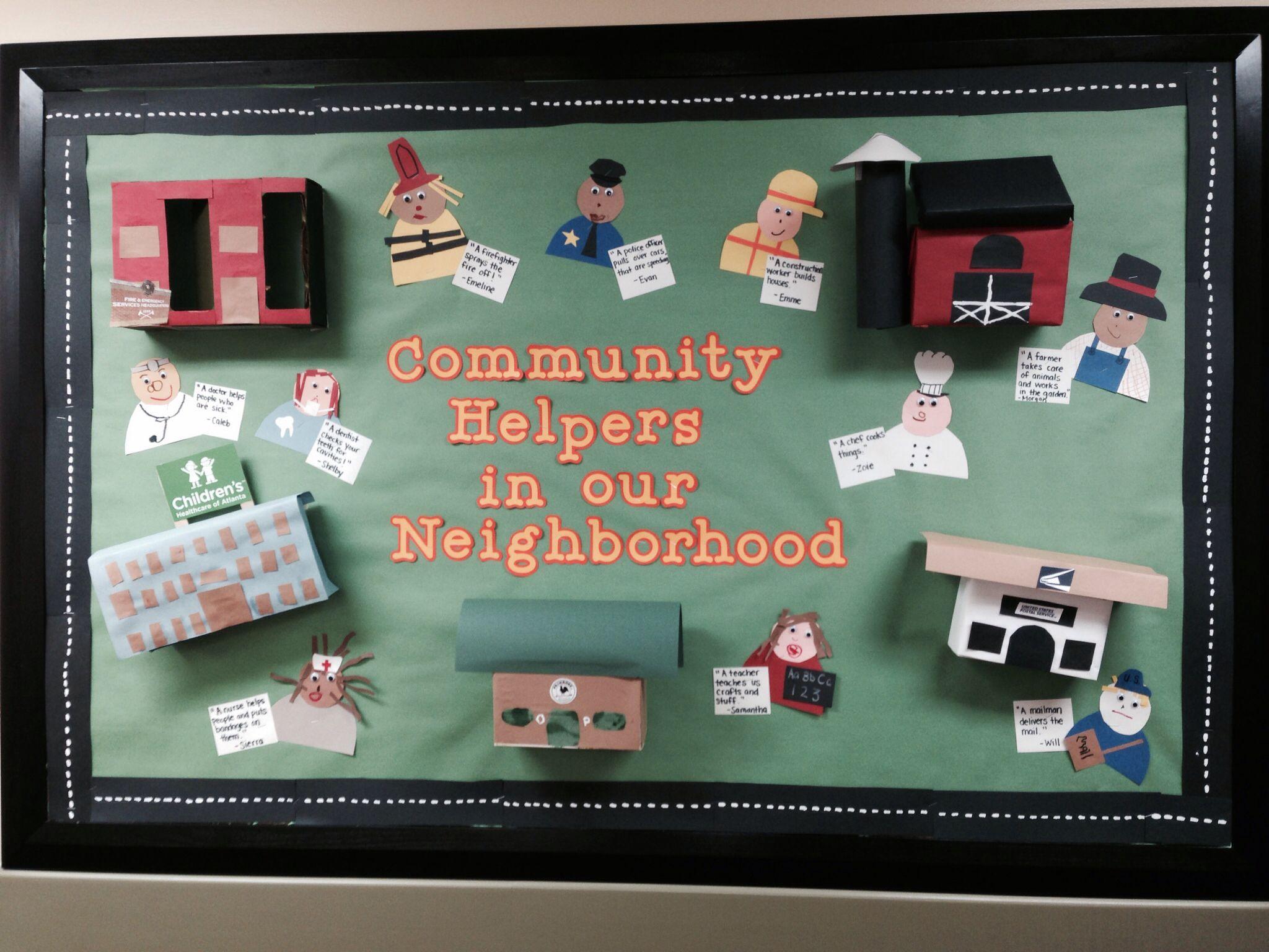 my october community helpers bulletin board classroom