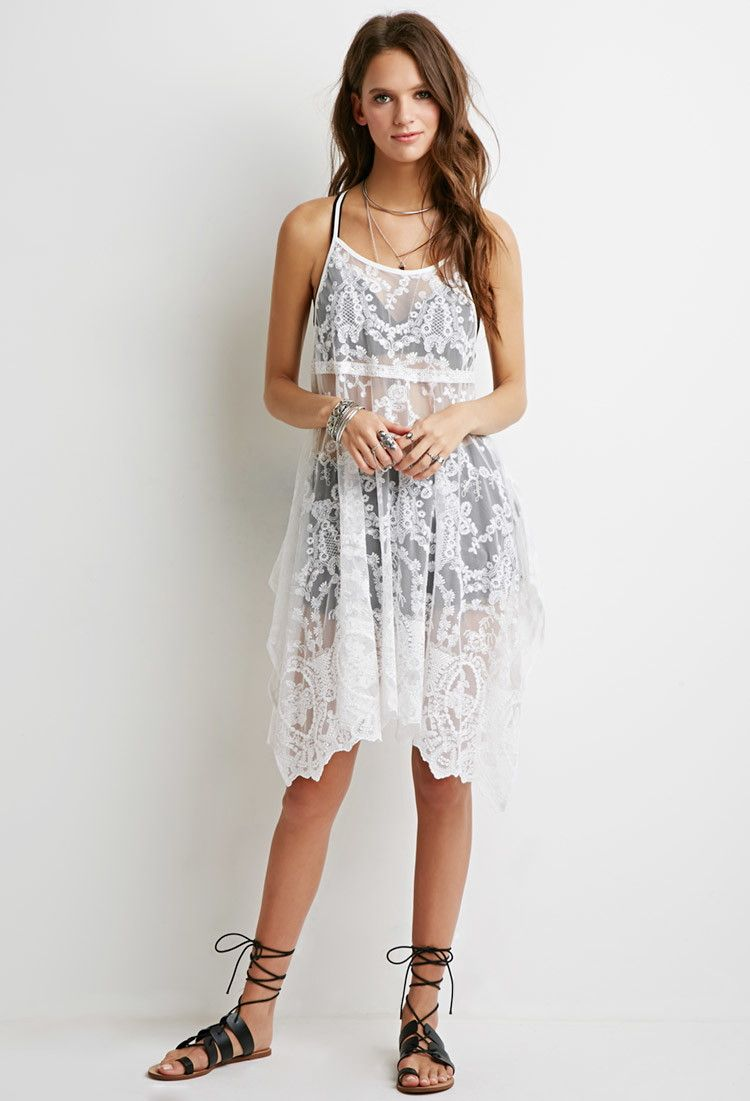 Embroidered Mesh Trapeze Dress Lace Summer Dresses White Dresses For Women Dresses [ 1101 x 750 Pixel ]