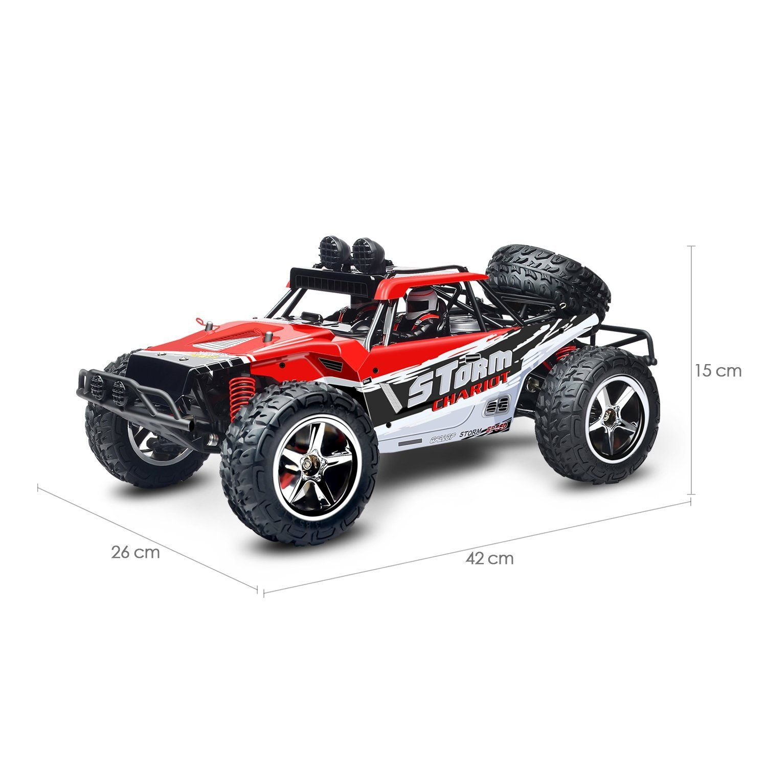 Amzdeal Remote Control Car 2.4GHz 1/12 Scale 50M Off Road