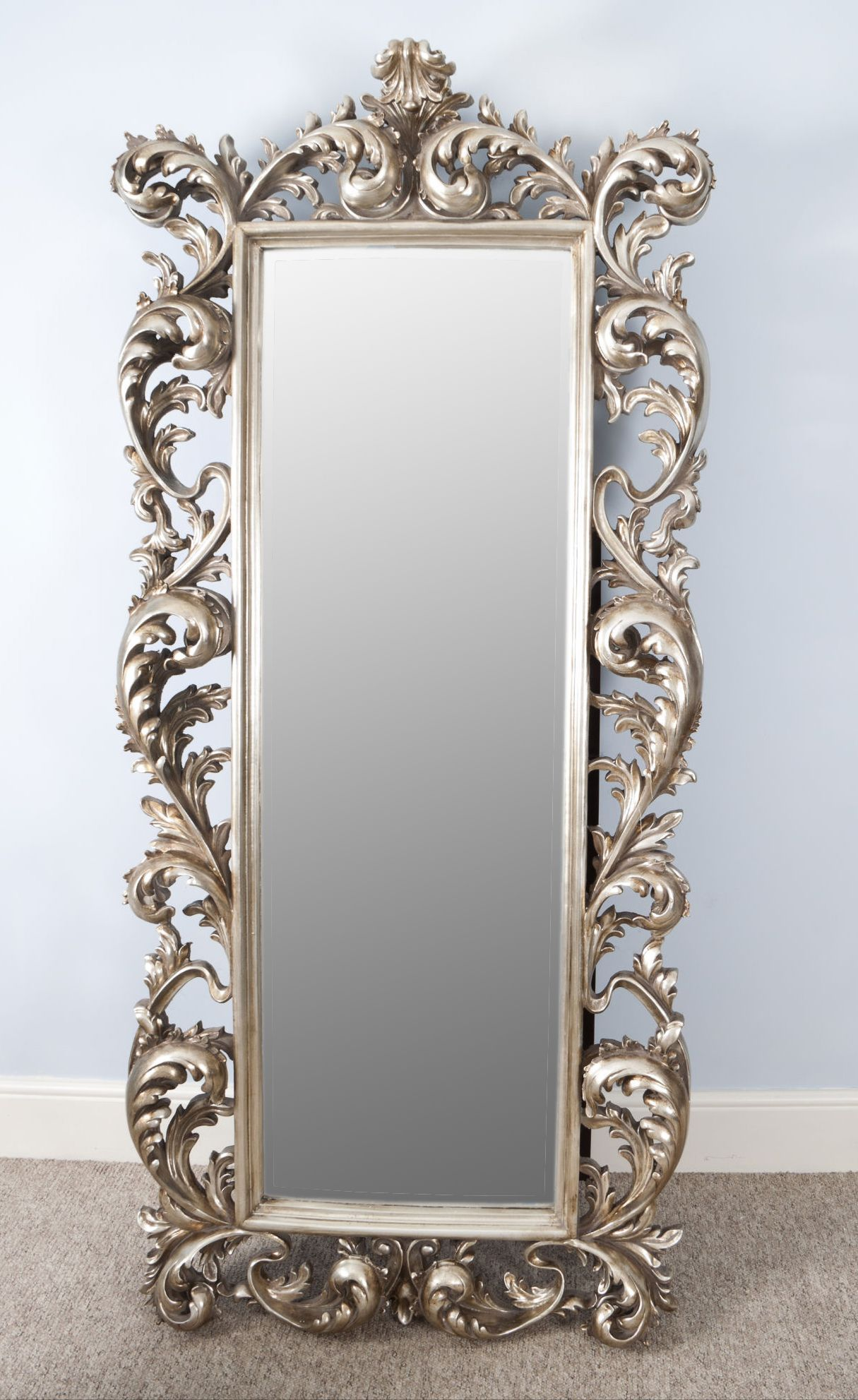 Large Full Length Silver Rococo Cheval Mirror Mercure