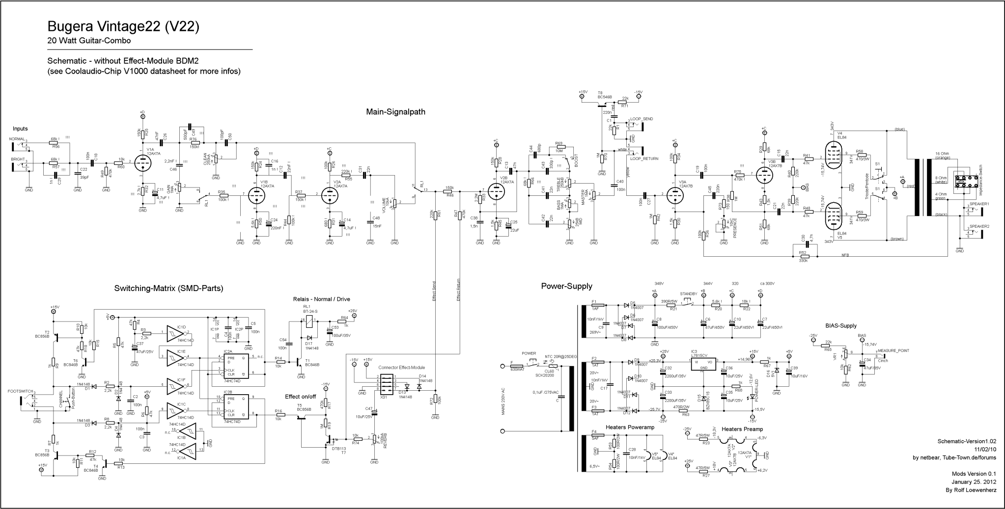 Bugera Schematics Ps The Reference Schematic Was Drawn By Netbear Docircuits Circuit Simulator Online Editor On Tubetown