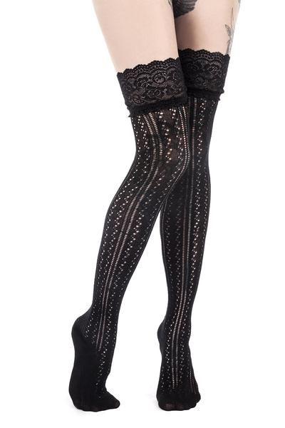 PLUS Size Nero Calze Autoreggenti con Pizzo Top Calze Donna Costume