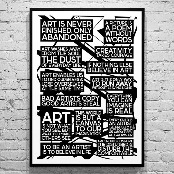 citater om kunst Plakat   Art Qoutes   Sort/hvid | Plakater jeg har desig| Art  citater om kunst