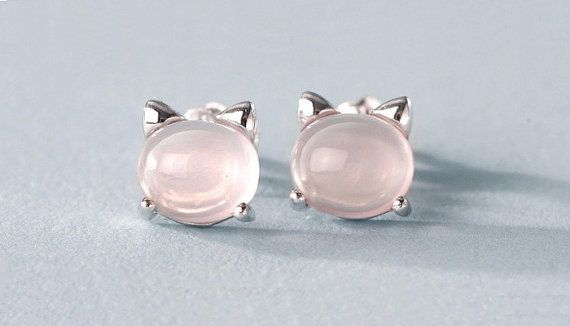 Sterling Silver Cat with Natural Rose Quartz by MillingtonsGifts