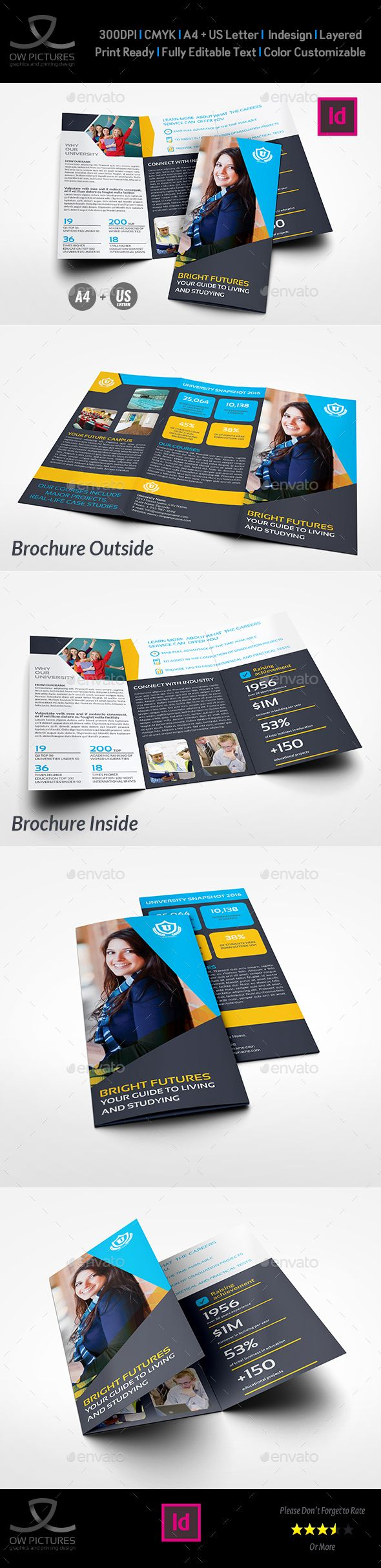 University  College Tri Fold Brochure Template  Brochures