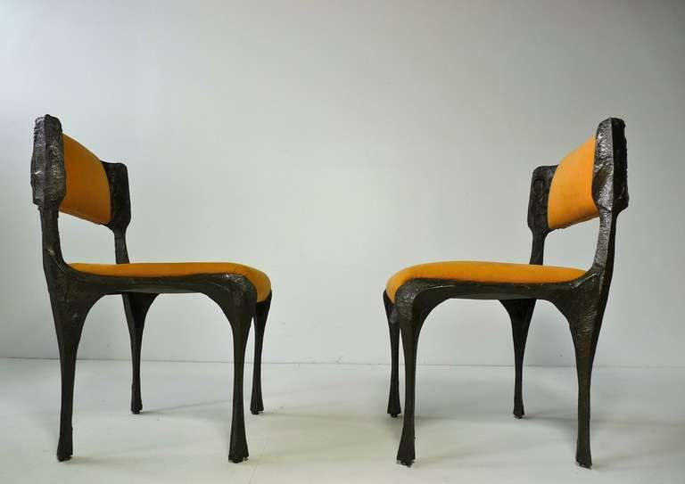 Perfect Pair Of Paul Evans Sculpted Bronze Chairs | 1stdibs.com