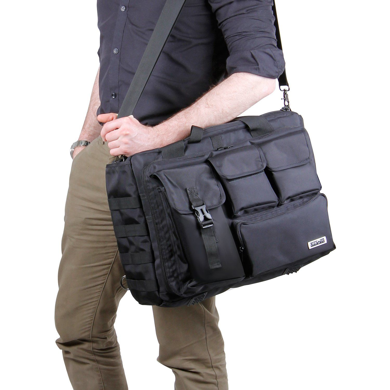 9b535cc8422e Lifewit 17.3 Mens Military Laptop Messenger Bag Multifunction Tactical  Briefcase Computer Shoulder Handbags Black    To view further for this  item