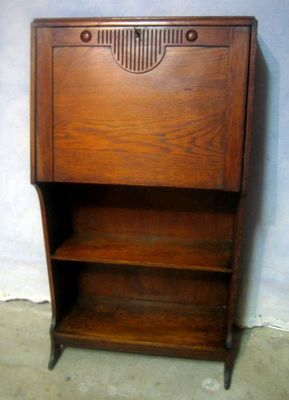 Antique Arts Crafts Mission Oak Larkin Desk Drop Front Secretary Book Shelf