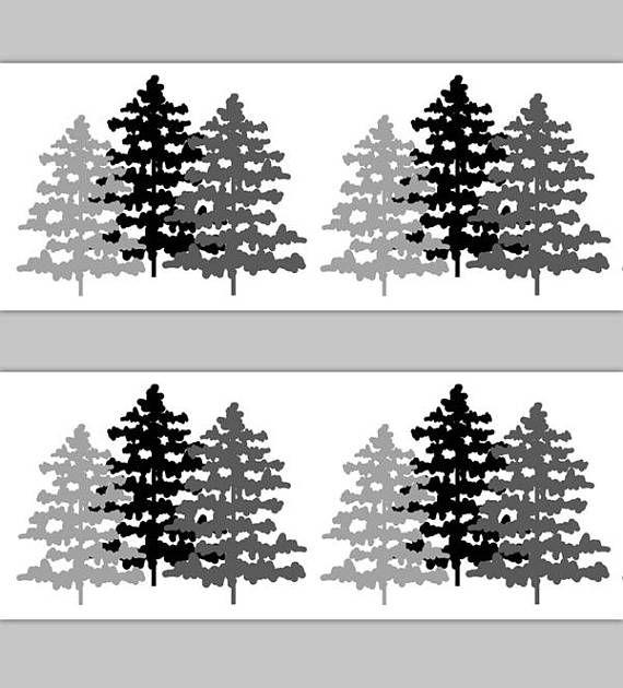 WOODLAND NURSERY DECOR Rustic Pine Tree Wallpaper Border