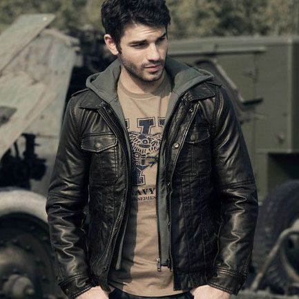 Autumn Casual Hooded Front Pockets Men Washed Leather Jacket
