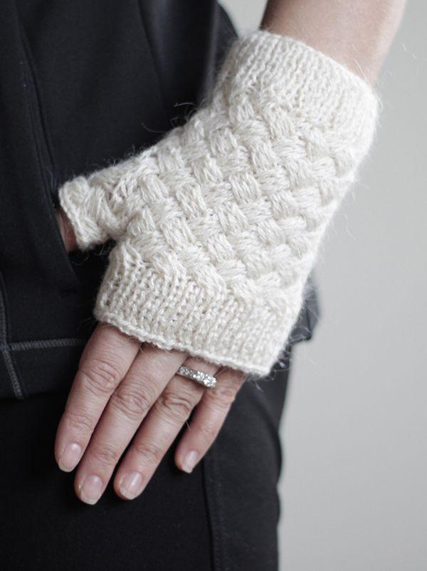 Knit Fingerless gloves - crochet mittens in white, wrist warmer ...