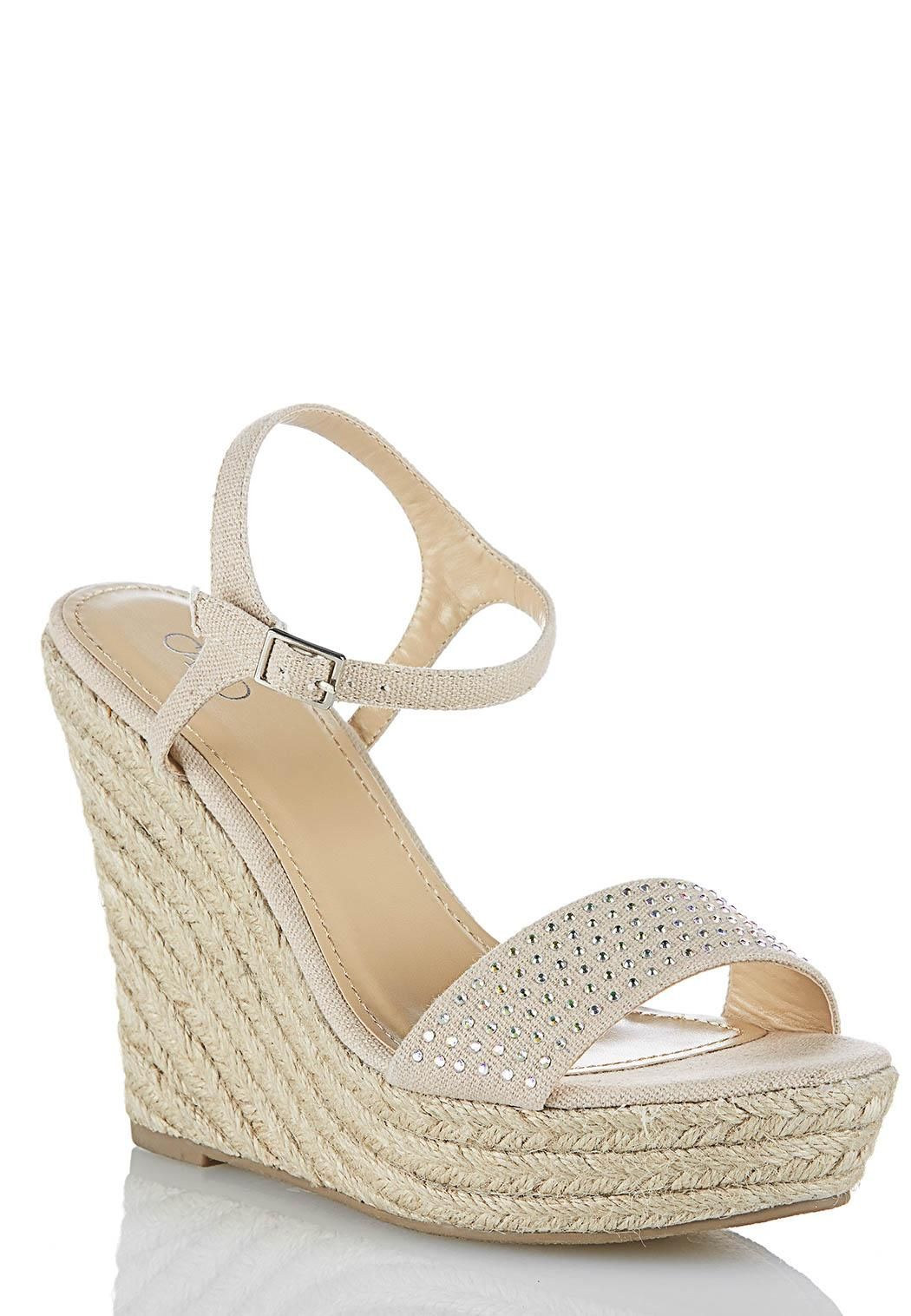 f72c71613 Crystal Canvas Rope Wedges Sandals Cato Fashions  CATOSUMMERSTYLE ...