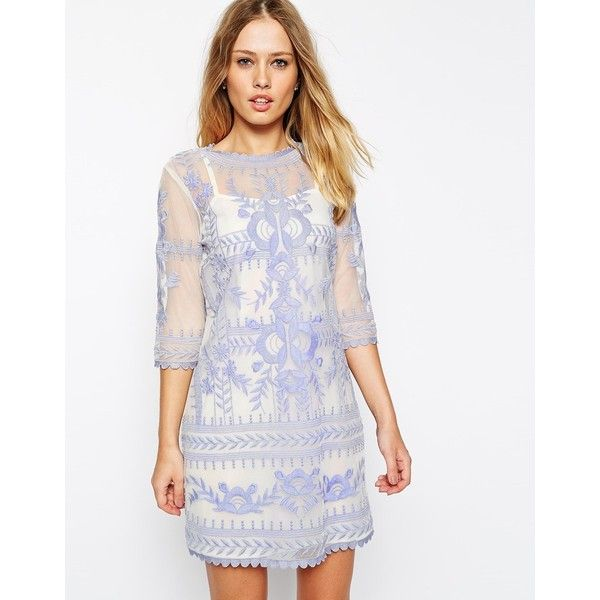 ASOS Premium Shift Dress with Embroidery (115 AUD) ❤ liked on Polyvore featuring dresses, creamblue, white slip dress, embroidered mesh dress, white slip, asos dresses and embroidery dress