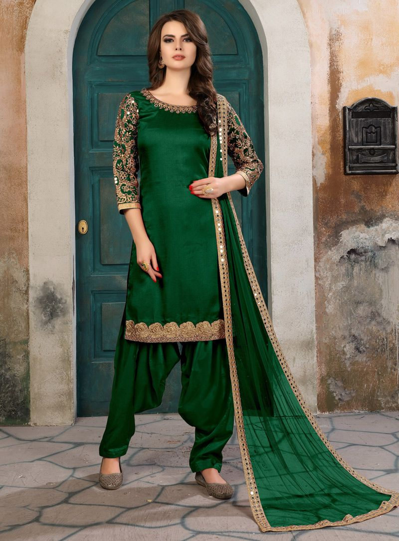 7c70682cf2 Buy Green Art Silk Punjabi Suit 129630 online at lowest price from huge  collection of salwar kameez at Indianclothstore.com.