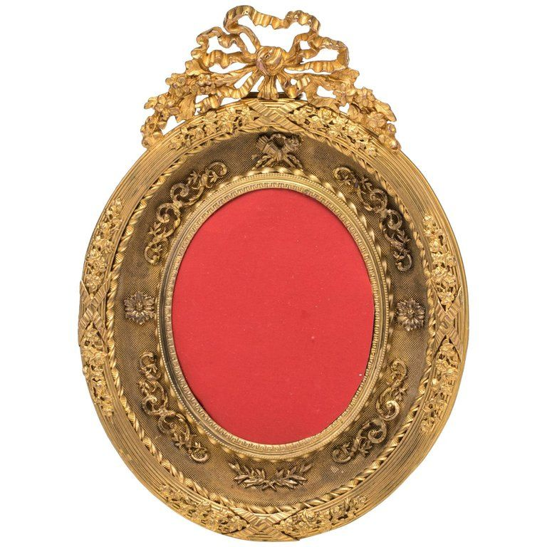 Antique French Gilt Bronze Oval Picture Frame