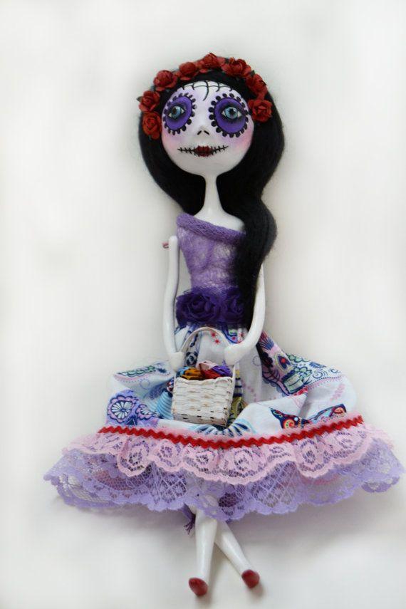 Custom Art Doll Day Of The Dead Doll Dia De Los Muertos Art Doll Mexican Folkart Art Dolls Custom Art Sugar Skull Party