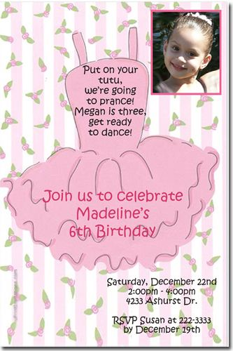 ballet birthday party invitation wording - Google Search