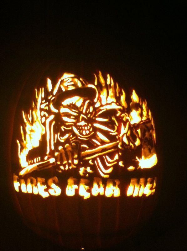 Fire Department pumpkin carved by Marshiekins Pumpkin Carving, pattern by Stoneykins.com