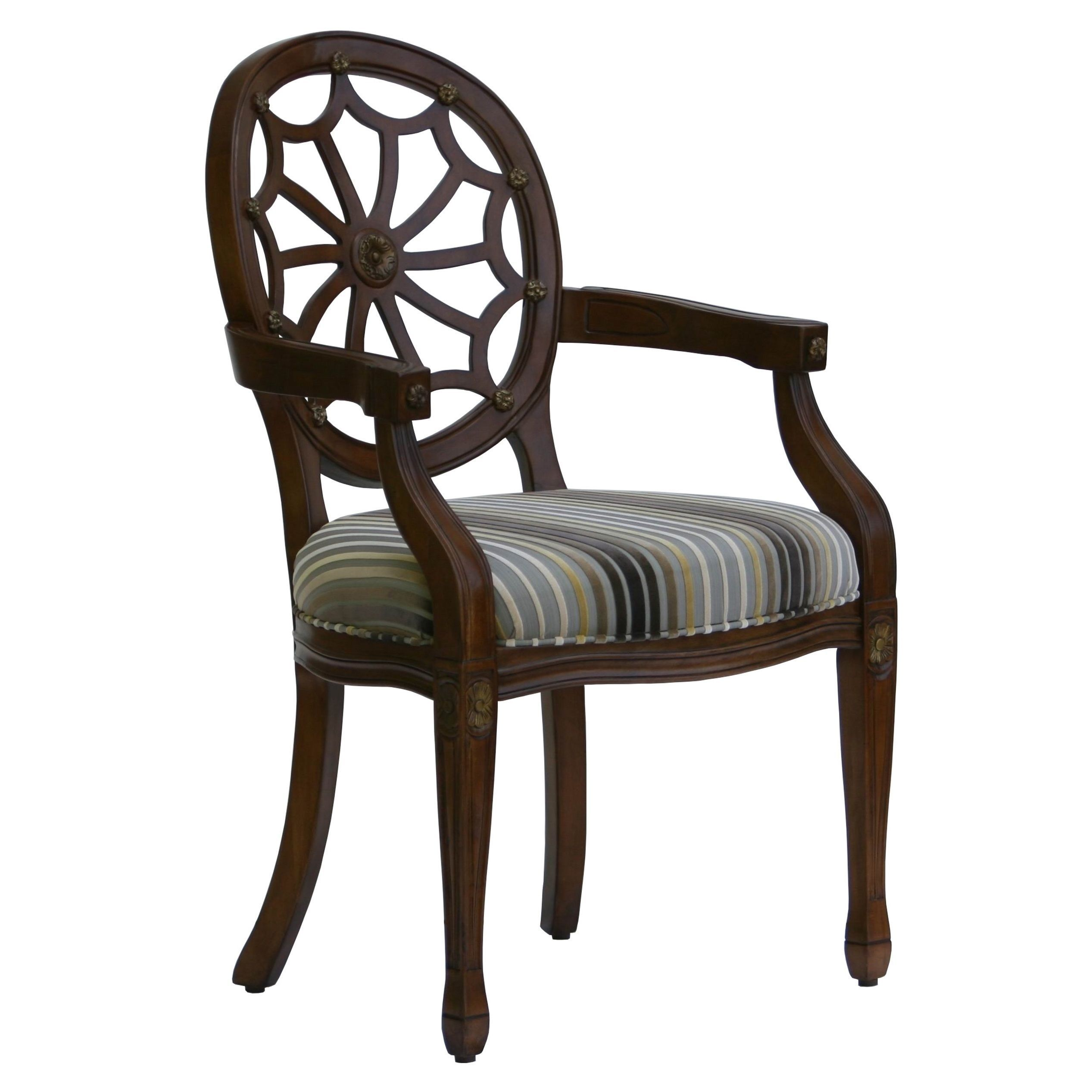 The traditional style of this Lancaster spider back chair will add beauty to any room in your home. The cherry finished web style back and frame feature hand-carved details accented by gold highlighting.