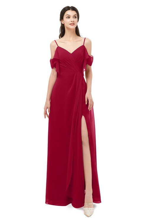dc2f0b52bf58 ColsBM Blair Maroon Bridesmaid Dresses Spaghetti Zipper Simple A-line  Ruching Short Sleeve