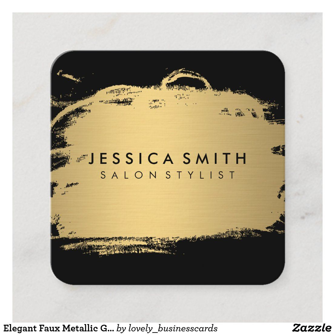 Elegant Faux Metallic Gold And Black Square Business Card Zazzle Com In 2021 Square Business Card Trendy Business Cards Metallic Gold And Black