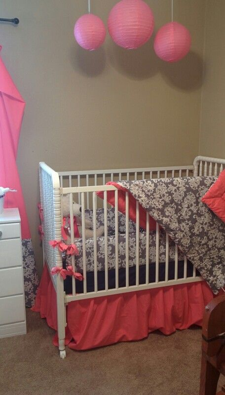 Baby Girl Crib Decoration Gray Damask With Navy And Corral With