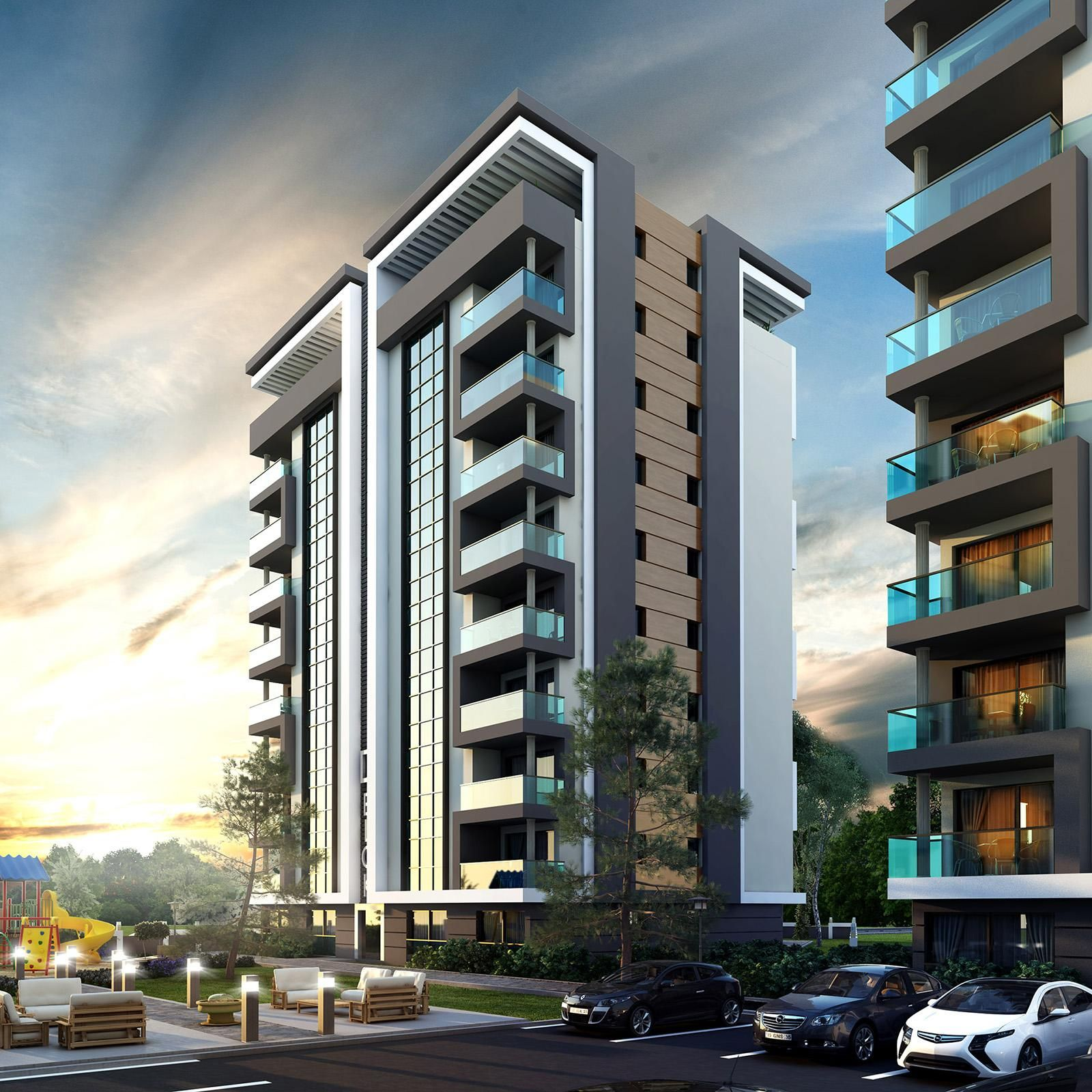 Modern Apartment Building Elevations: Residential Building