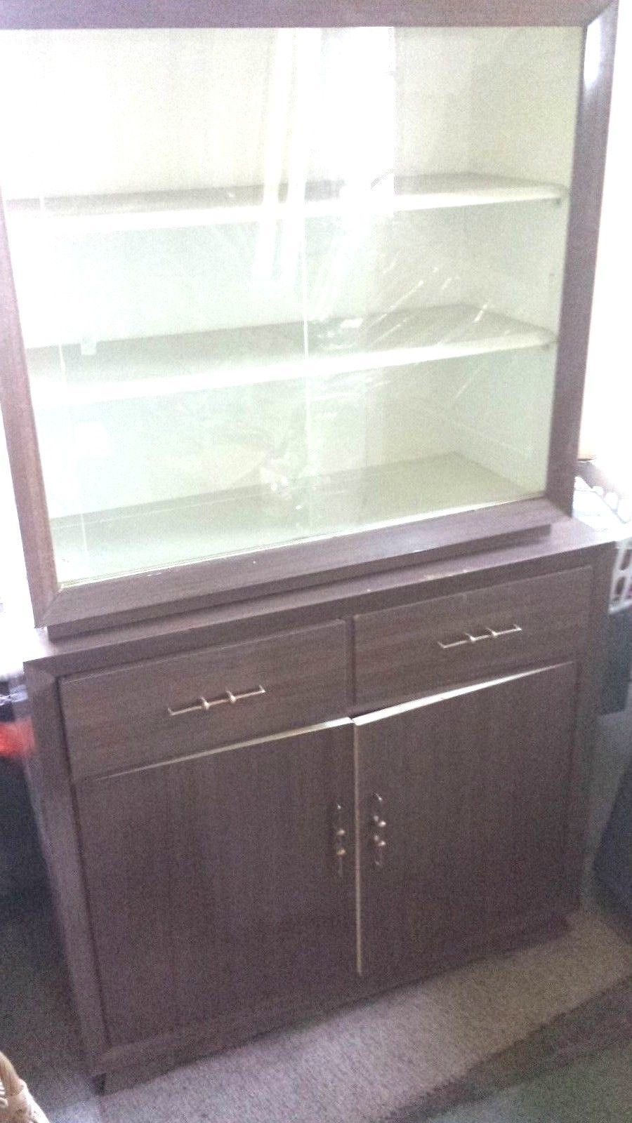Wooden Cabinet with White Interior Shelves with Glass Sliding Door Drawer Set | eBay