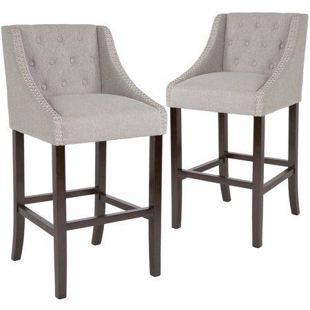 Flash Furniture 2 Pk Carmel Series 30 Inch High Transitional Tufted Walnut Barstool With Accent Nail Trim In Light Grey Bar Stools Fabric Bar Stool Bar Stools