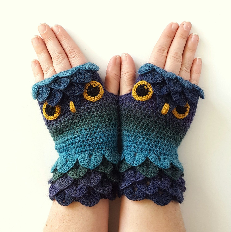 Driving texting gloves - Ooak Owl Gloves Fingerless Gloves Womens Gloves Winter Gloves Handmade Wrist Warmers Arm Warmers Texting Gloves