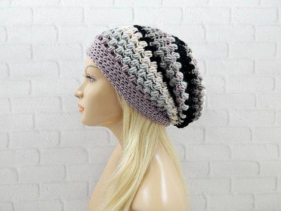 Crochet Slouchy Hat, Striped Crochet Beanie, Oversized Hat, Winter Hat Woman, Vegan Beanie, Gift for Women, Large Slouch Beanie, OOAK