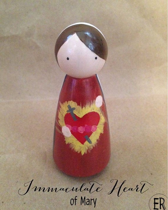 Immaculate Heart of Mary  Wooden Peg Doll by EmmausRoad on Etsy