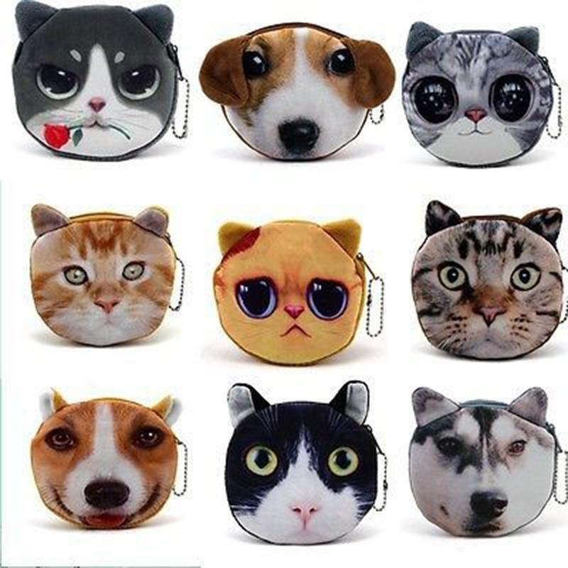 Gorgeous vlekkeloze kat/hond gezicht rits case portemonnee portemonnee make-up tas 2015 meest fashion