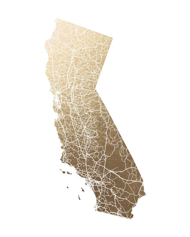 California Map Filled Foilpressed Art Print by GeekInk Design