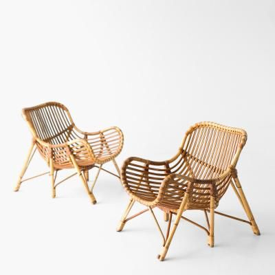 danish bamboo and wicker lounge chairs by laurids lonborg summer