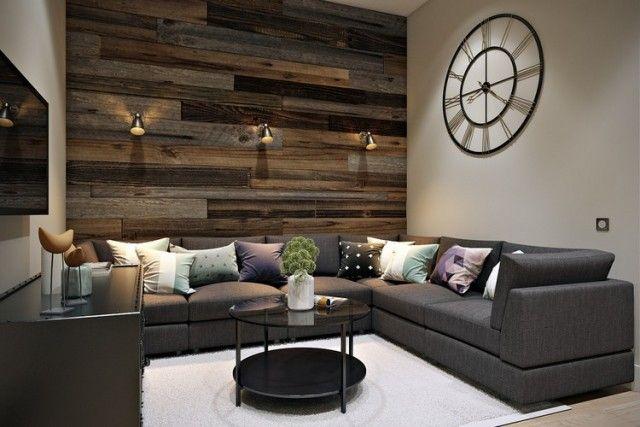 Decoration · parement mural salon bois récupération bois grange