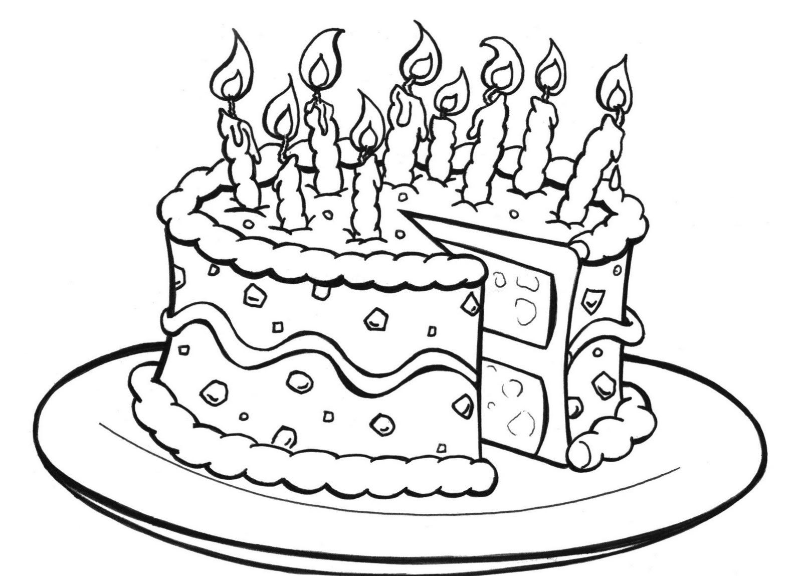 Birthday Cake Coloring Page Birthday Coloring Pages Happy Birthday Coloring Pages Birthday Cake Illustration