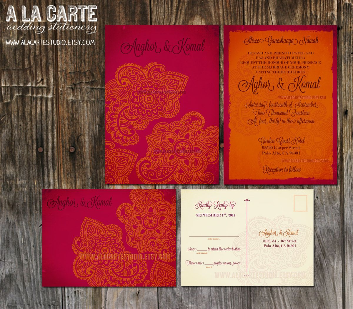 Indian Style Wedding Invitation RSVP Set in orange red Indian Arabic ...