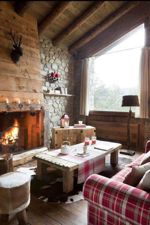 casa in montagna elegante stile rustico divano case