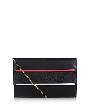 Pink Pattern (Pink) Black and Pink Contrast Snakeskin Panel Metal Bar Clutch | 300323679 | New Look