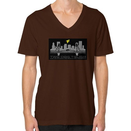 TWO DOG TOUGH 503 BRIGHTER FUTURES CITYSCAPE (V-Neck on man)