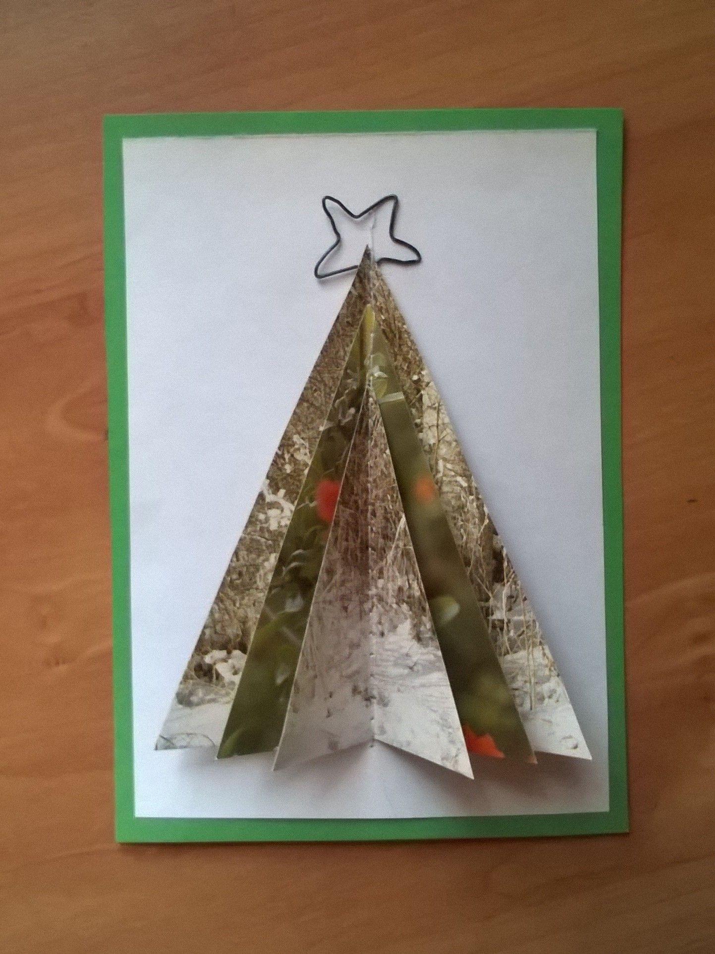Joulukuusikortti – paperi + metallilanka