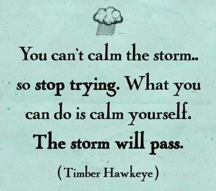 Calm yourself... And the storm will pass.